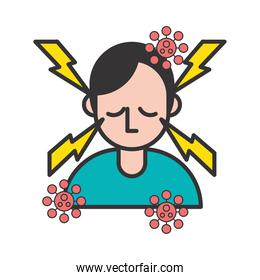 person with headache covid19 symptom and particles