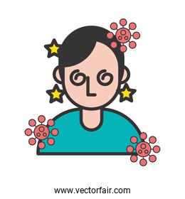 person with sickness covid19 symptom and particles