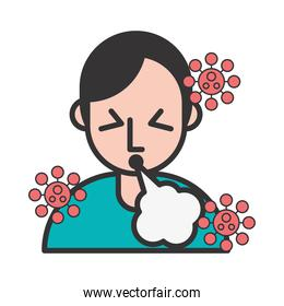 person with cough covid19 symptom and particles