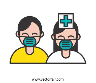 nurse and patient wearing medical masks characters