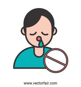 person with flu covid19 symptom and stop symbol
