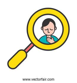 person with sore throat covid19 symptom in magnifying glass