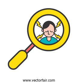 person with headache covid19 symptom in magnifying glass