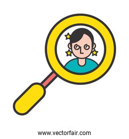person with sickness covid19 symptom in magnifying glass