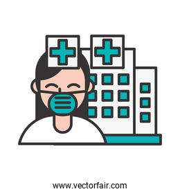 nurse wearing medical mask in hospital character