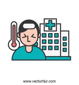 person with fever covid19 symptom and hospital