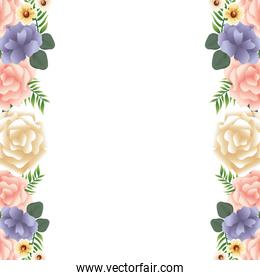 beautiful flowers and leafs decoraive frame with white background