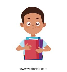 little student afro boy with uniform and books character