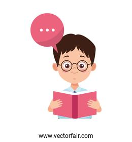 little student boy with uniform reading book character