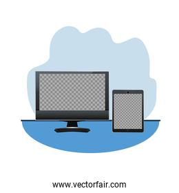tablet and desktop digital devices technology icons