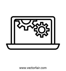 gears machine work in laptop line style icons