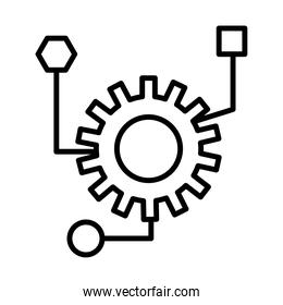 gear machine work with infographic line style icon
