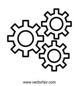 gears machine work line style icons