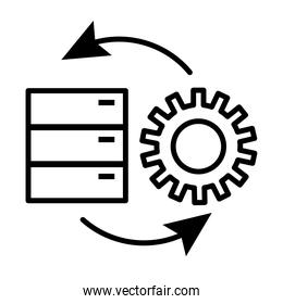 gear machine work with data server line style icon