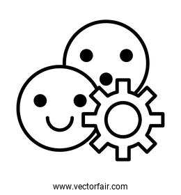 gear machine work with emojis faces line style icon