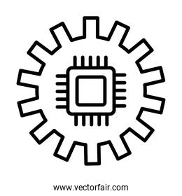 gear machine work with processor line style icon