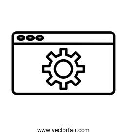 gear machine work in webpage template line style icon