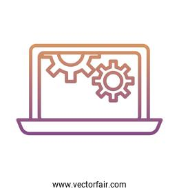 gears machine work in laptop gradient line style icons