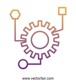 gear machine work with infographic gradient line style icon