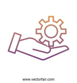 hand lifting gear machine work gradient line style icon