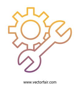 gear machine work with wrench gradient line style icon