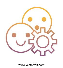gear machine work with emojis faces gradient line style icon