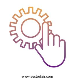 gear machine work with hand indexing gradient line style icon