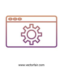 gear machine work in webpage template gradient line style icon
