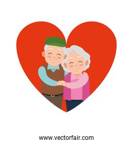 cute happy grandparents couple in heart avatars characters