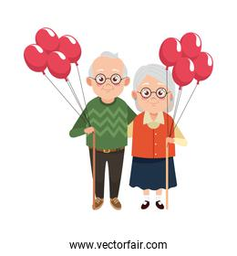 cute happy grandparents couple with balloons helium characters