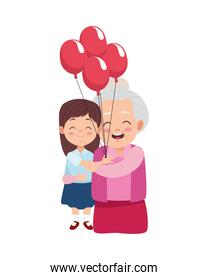 cute happy grandmother with granddaughter and balloons helium
