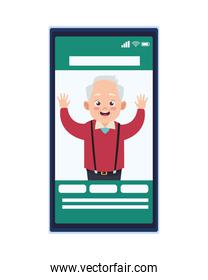 happy old grandfather in smartphone avatar character