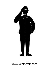 military soldier black silhouette isolated icon