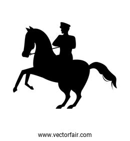 military soldier in horse silhouette isolated icon