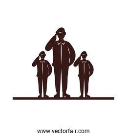 military soldiers silhouettes isolated icons