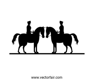 military soldiers in horses silhouettes isolated icons
