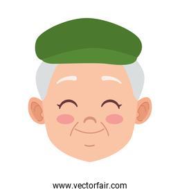happy old grandfather with beret avatar character