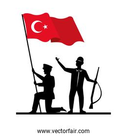 soldiers with turkey flag country isolated icon