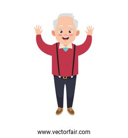 happy old grandfather avatar character