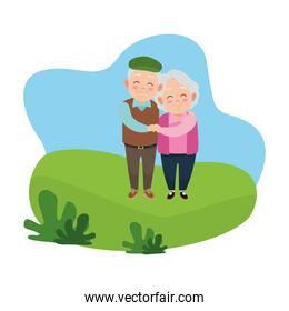 cute happy grandparents couple avatars characters