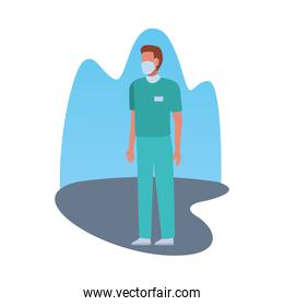 surgeon doctor wearing medical mask character