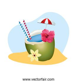 fresh coconut cocktail summer icon