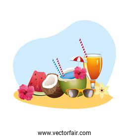 fresh coconut cocktail with umbrella and watermelon on the beach