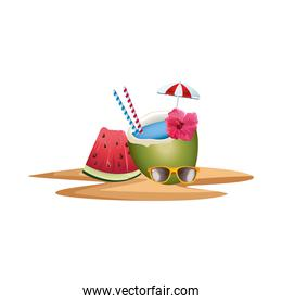coconut cocktail with umbrella and watermelon