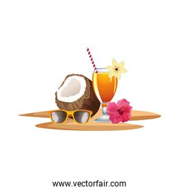fresh coconut cocktail summer with umbrella and sunglasses