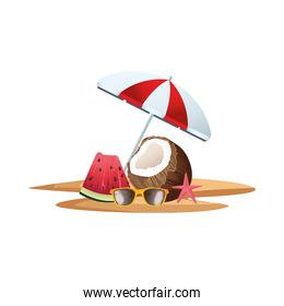 fresh coconut cocktail with umbrella and watermelon