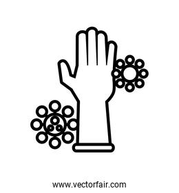 rubber glove with covid19 particles line style icon