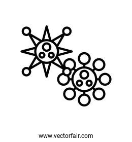 covid19 virus particles line style icons
