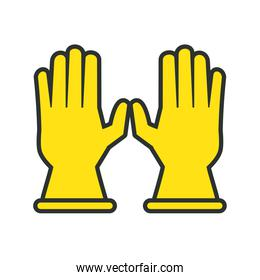 rubber gloves line and fill style icon