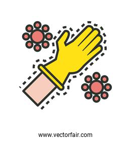 rubber glove with covid19 particles line and fill style icon
